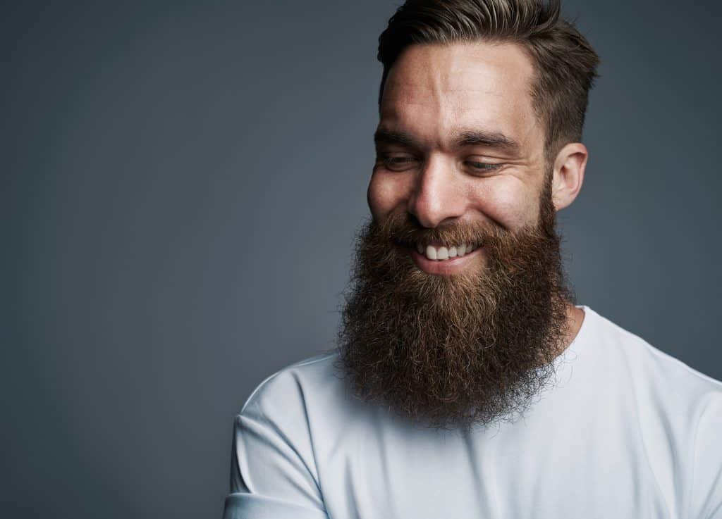 Smiling bearded
